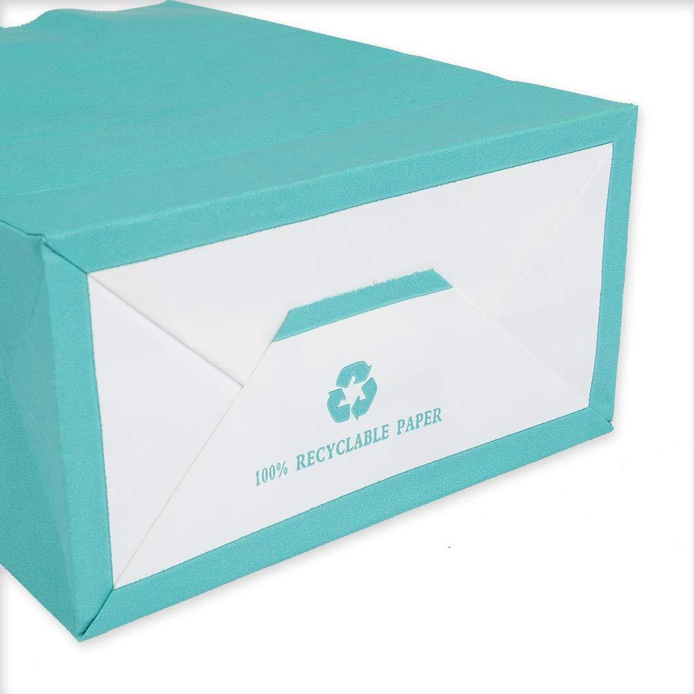 WOWOSS 20 Pezzi Sacchetti Regalo Colori Compleanno e Matrimonio 5 Colori Borse di Regalo di Carta Kraft con Manici 21 * 16 * 8cm Buste Sacchetti Carta per Shopping