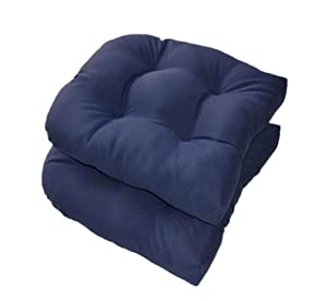 Set of 2 - Universal Tufted U-shape Cushions for Wicker Chair Seat - Solid Navy Blue - Indoor / Outdoor