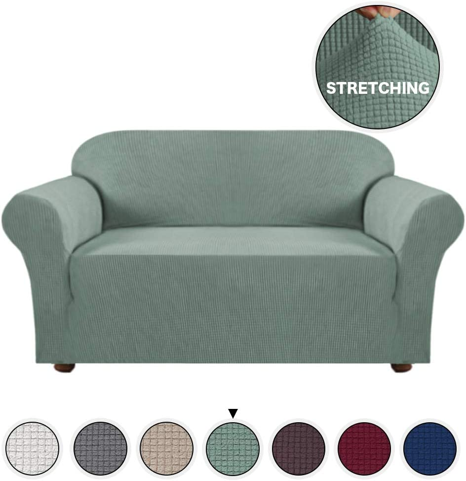 Turquoize Spandex Stretch Slipcover for Loveseat Sofa Cover/Lounge Cover, Anti-Slip Machine-Washable 1 Piece Form Fit Furniture Protector Couch Slipcover Highly Fitness (Loveseat, Dark Cyan)