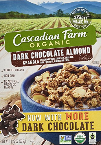 Cascadian Farm Organic Granola, Dark Chocolate Almond Cereal, 13.25 oz (Pack of 6)