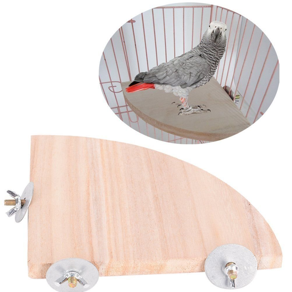 Parrot Bird Cage Perches Round Coin Fan Wooden Stand Corner Toys Petoolife