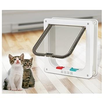 chatière para gato, puerta de gato inteligente chatière con cerradura con 4 modos de cierre salida acceso libre para pequeño animales perro gato conejo: ...