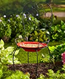 The Lakeside Collection Chair Style Birdbath- Red
