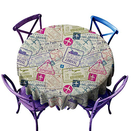 Custom Tablecloth,Travel Passport and Visa Stamps Illustration of Toronto Hong Kong Berlin Print,Table Cover for Home Restaurant,50 INCH,Egg Shell and Pink -