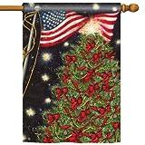 Patriotic Christmas Pole Flag – Indoor Outdoor Xmas Holiday Seasonal Banner