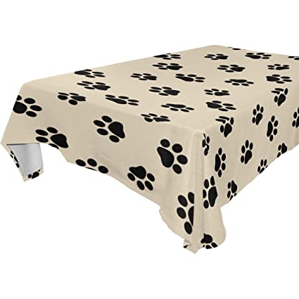 .com: colourlife tablecloth black dog paw print modern table ...