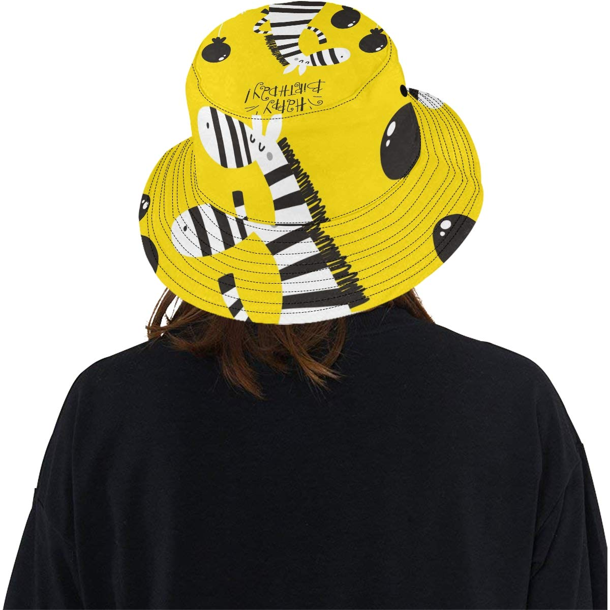 Cute Zebra Baby Art Funny New Summer Unisex Cotton Fashion Fishing Sun Bucket Hats for Kid Teens Women and Men with Customize Top Packable Fisherman Cap for Outdoor Travel