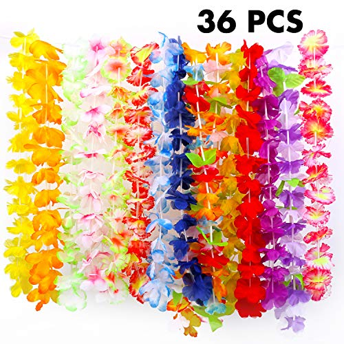 FUNNISM 36 Counts Tropical Hawaiian Luau Flower Lei Party Favors (3 Dozen) ()