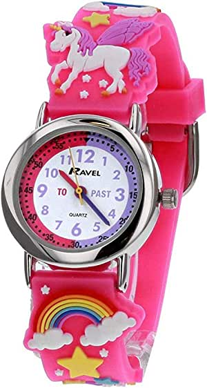 Ravel Children's 3D Pink Unicorn Kid' s Girl's Time Teacher Watch