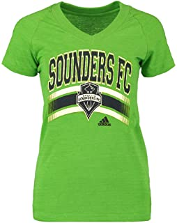b75f698759c Ladies Seattle Sounders FC Green Middle Logo V-Neck Tee Shirt by Adidas