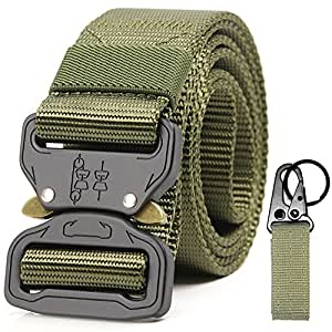 Tactical Riggers Belt Shooters Nylon Metal Buckle Multifunction Patrol Western Waistband Rappelling Special Forces outdoor Combat Training Special Forces Armed band EDC Duty Belts(Army Green)