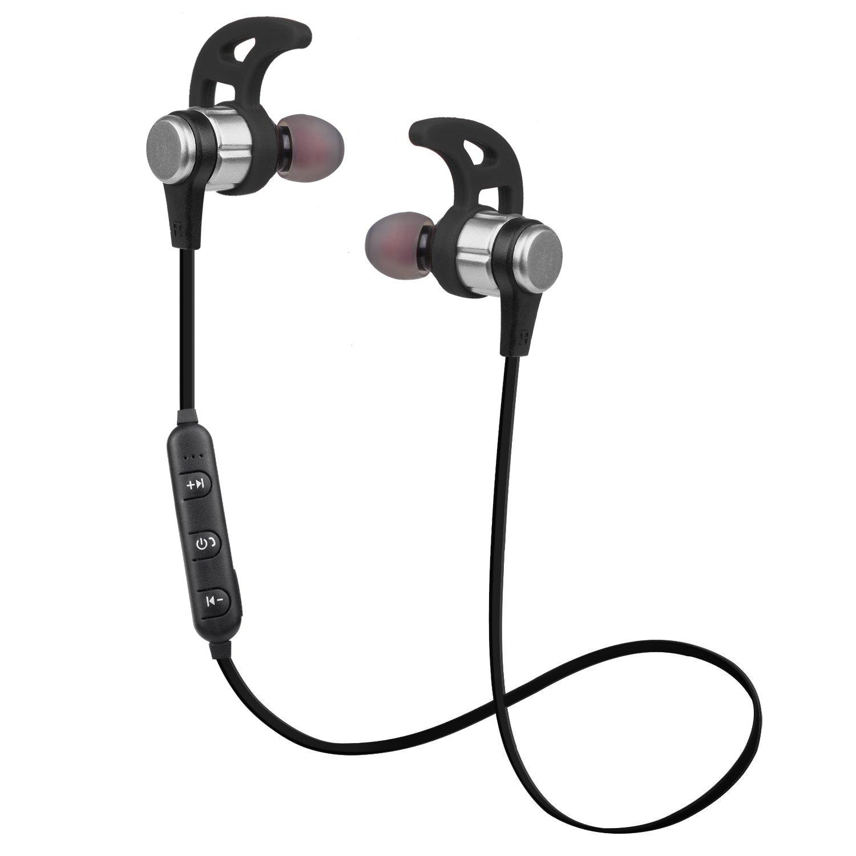 Woozik N860 Bluetooth Headphones, Wireless Earbuds w/Mic IPX4 Waterproof  (Silver)