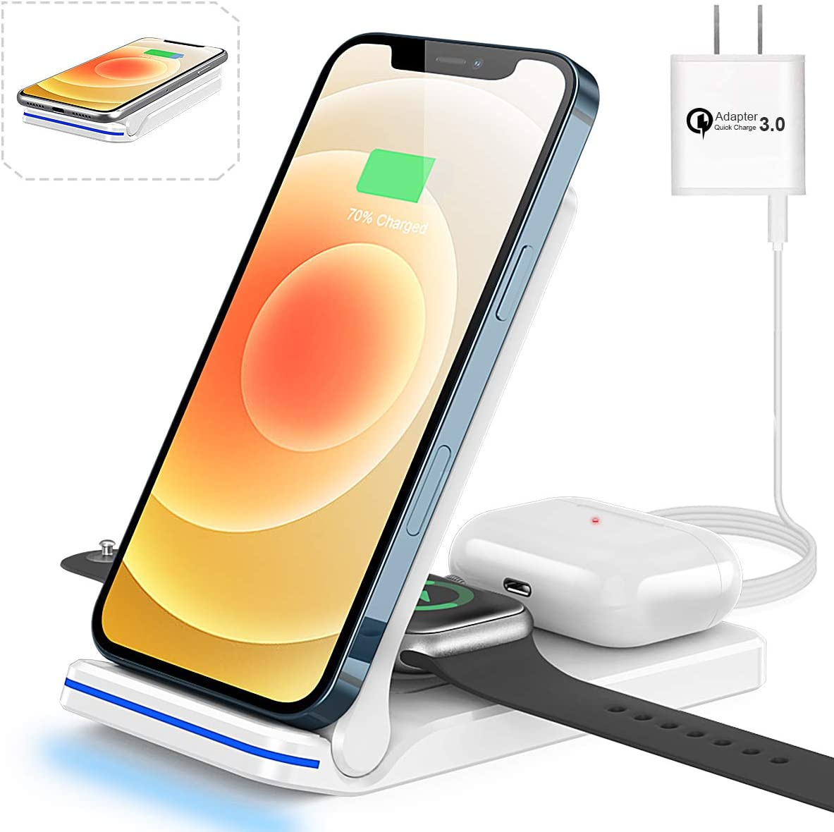 Wireless Charging Station 3 in 1 Wireless Charger for Apple iPhone Watch Airpods,Mildily Charging Dock Stand for iWatch SE/6/5/4/3/2/1,AirPods Pro/2/1, iPhone 12 11 Series/XS MAX/XR/XS/X/8/8 Plus