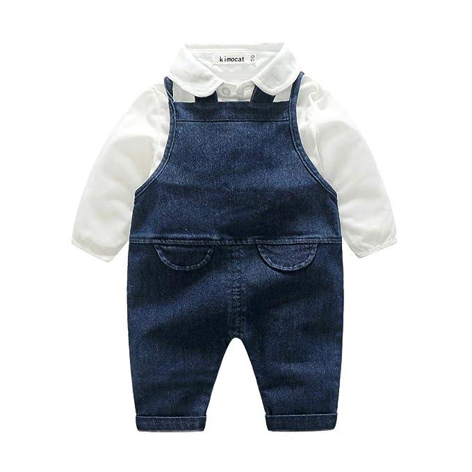 ☀☀Chaquetas Y Abrigos para Bebés Niña, Infant Baby Baby Gentleman Camiseta Sólida Tops Pantalones De Tirantes De Mezclilla Set Trajes: Amazon.es: Ropa y ...