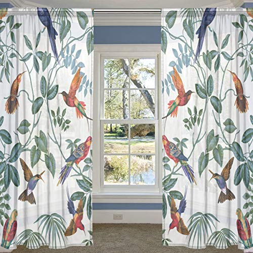 LORVIES Aviary Multi Pattern Sheer Curtain Panels Tulle Polyester Voile Window Treatment Panel Curtains for Bedroom Living Room Home Decor, 55x78 inches, 2 Panels Set