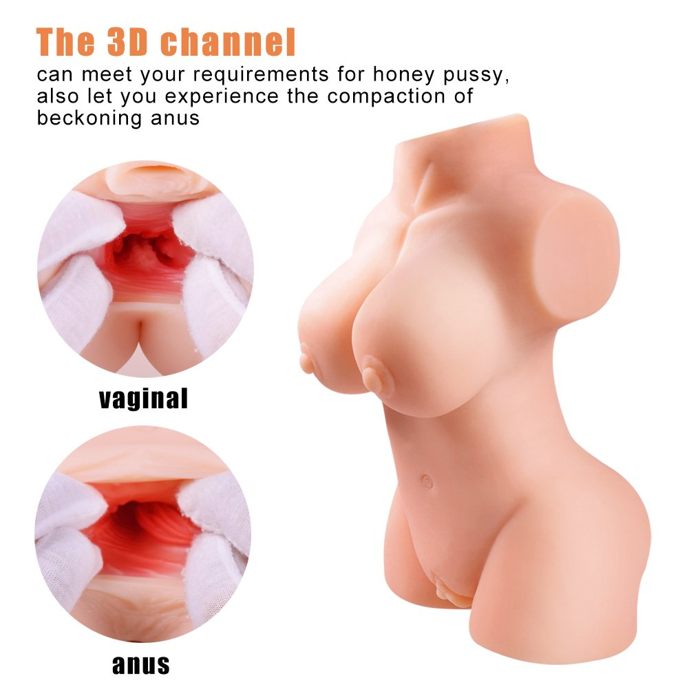Super Soft & Real Women Full Body Torso Lifelike Silcone Doll Realistic Pussycat Dolls Men's Male Adult Toys with 2 Entries (12x6.5x3.9 in) by GOONANA (Image #4)