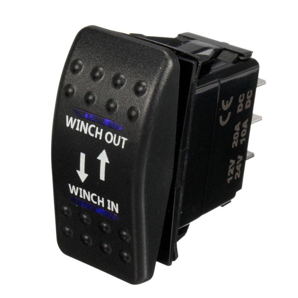 E Support/™ 12V Auto KFZ Licht Blau LED Lichtleiste Beleuchtet Wippenschalter Kippschalter Auto-Armaturenbrett Schalter Winch in out 7 Polig Momentschalter