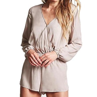 LILICAT Frauen Overall Lässige Kleidung Elegant Playsuits Mode Damen  Jumpsuit Lange Ärmel V-Ausschnitt Locker 68bdde2332