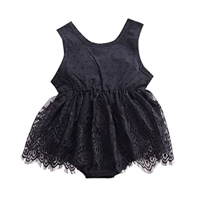 30bbabf78b6 Amazon.com  Weixinbuy Infant Baby Girl Easter Dress Summer Clothes  Sleeveless Lace Romper Bodysuit Outfit  Clothing