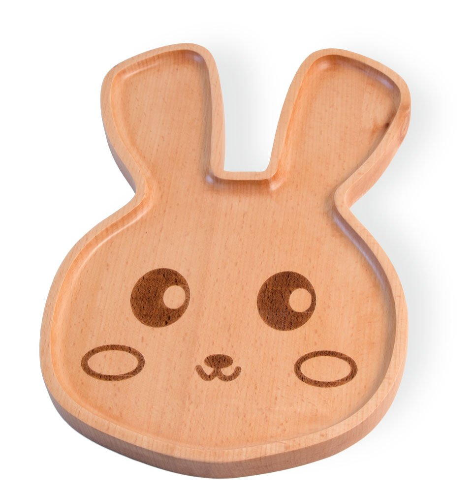 Boston International Beech Wood Animal Face Plate for Kids, 11 x 7.75-Inches, Bunny