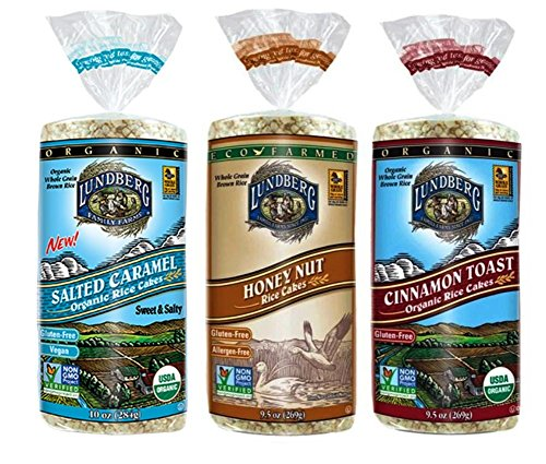 Lundberg Gluten-Free Non-GMO Rice Cakes 3 Flavor Variety Bundle, (1) Each: Salted Caramel, Honey Nut, and Cinnamon Toast, 9.5-10 Ounces (3 (Cinnamon Organic Cake)