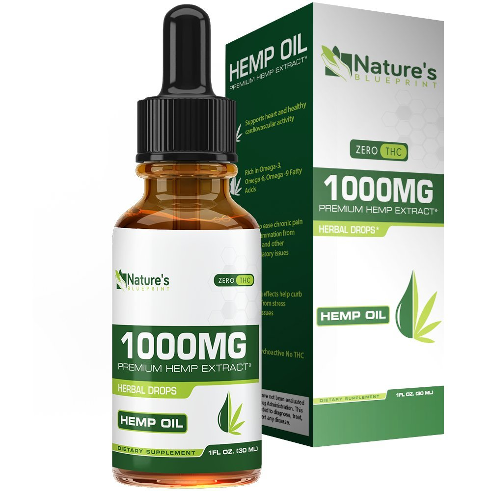 Hemp Oil for Pain Relief 1000mg :: Promotes Healthy Sleep & Anxiety Relief ::Rich in Omega 3 and 6 Fatty Acids :: All-Natural Ingredients :: 30-Day Supply :: Nature's Blueprint