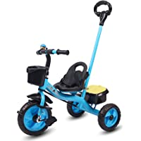 Little Olive Little Toes Baby Tricycle / Kids Trike / Bicycle / Ride On with Parental Adjust Push Bar and Foot Rest | Suitable for Boys & Girls - (1 to 4 Years) (Blue)