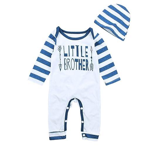 d8a09519e1b7 Amazon.com  KIDSA 0-24M Newborn Baby Boy Little Brother Fall Rompers ...