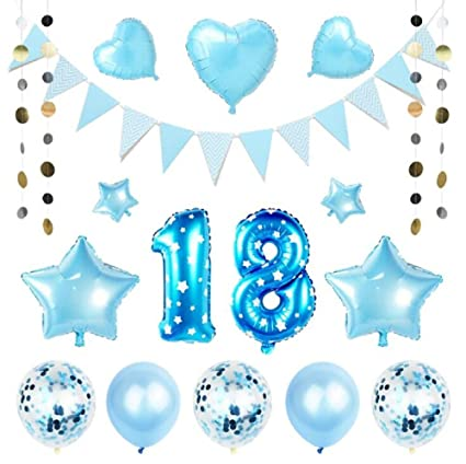 EBTOYS 18th Birthday Decorations Party Supplies Number Balloons Foil Latex Balloon