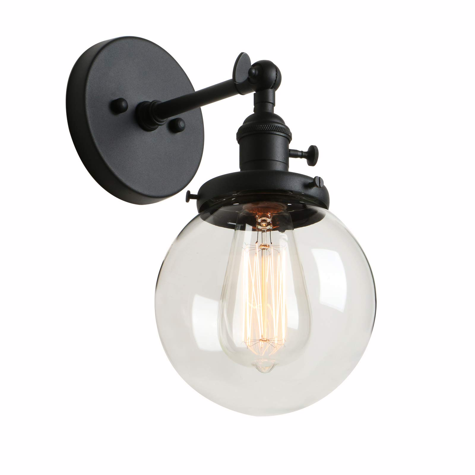 """Phansthy Industrial Sconce Light Vintage Wall Light Fixture with 5.9"""" Round Clear Glass Canopy for Loft, Kitchen, Dining Room Decoration and Lighting by Phansthy"""