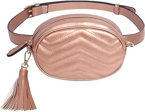 CMUKHI Waist Pack Brand Womens Belt Bags Solid PU Leather Waist Packs Ladies Tassel Fanny Pack Female Travel Phone Wallet Belt Waist Bag Box Bronze: Amazon.es: Deportes y aire libre