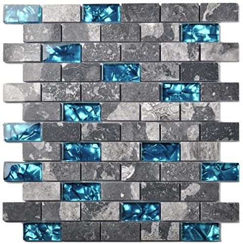 2' Glass Mosaic Tile - Ocean Teal Blue Glass Nature Stone Tile Kitchen Backsplash 3D Bath Shower Accent Wall Decor Gray Wave Marble 1 x 2 Subway Art Mosaics TSTNB03 (11 PCS [11.8'' X 11.8''/each])