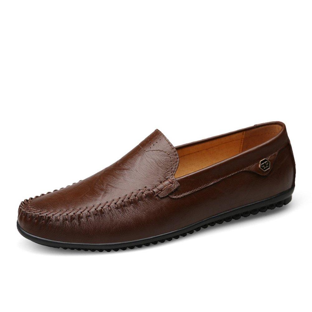 Mocasines Cuero Hombre Verano Artesanal Hilo de Coser Classic Oficina Viajar Zapatos Formales 42 EU Marrón Oscuro