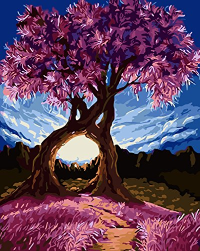 TianMai Paint by Number Kits - Purple Exotic Trees Millennium Love 16x20 inch Linen Canvas Paintworks - Digital Oil Painting Canvas Kits for Adults Children Kids Decorations Gifts (With Frame) by TianMai
