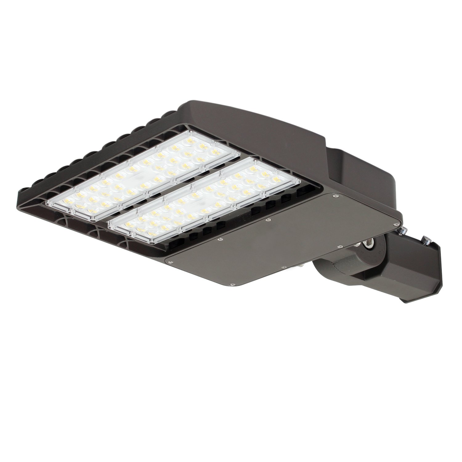 KCCCT led shoebox outdoor parking lot pole light commerical security area lighting fixture 5700k 130LM/W Slipfitter UL & DLC Listed weatherpoof (150w)