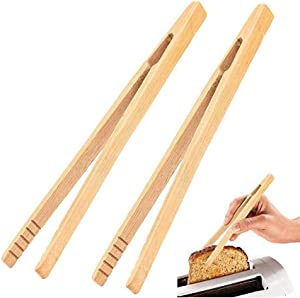 2 Pieces 7 Inch Bamboo Toaster Tongs, Natural Bamboo Wood Tongs for Toast Pickles Tea Cooking Kitchen Straight Tongs
