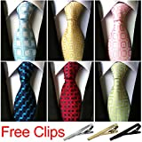 Jeatonge Lot 6 Pcs Mens Ties and 3 Free Tie Clips, Men's Classic Tie Necktie Woven Jacquard Neck Ties Gift box packing (Style 20)