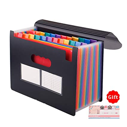 Qutaway Expanding File Folder 12 Pockets A4 Plastic Portable File Organizer Waterproof Filing Document Holder Wallet Storage Accordion File Folder with Cover Lid