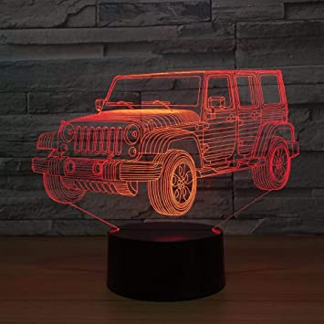 Zylxyd 3d Night Light Touch Gift Led Car Gradient Jeep Shape Usb Bedside Bedroom Table Lamp Usb Indoor Decor Atmosphere Lamp Birthday New Amazon Ca Tools Home Improvement