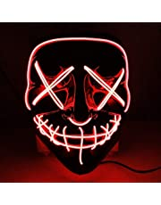 Foneso Halloween LED Masks, Terrible Costume for Halloween Cosplay Carnival Parties Powered Battery Red (Not Included)