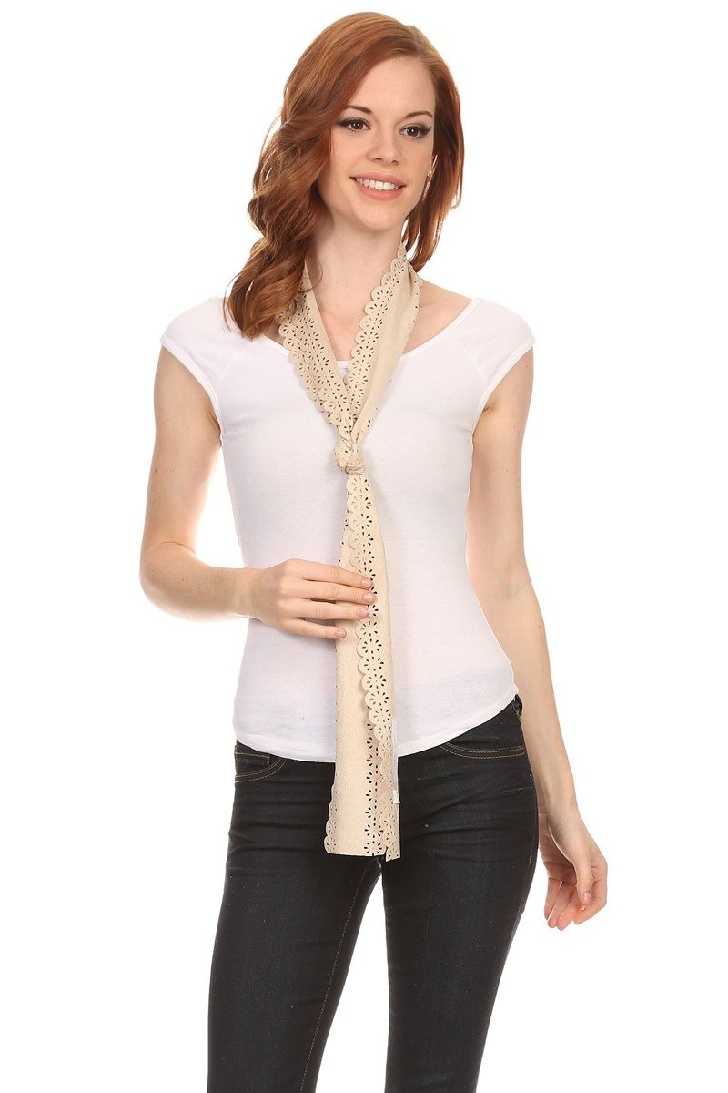 LL Womens Chic Long Skinny Thin Scarf Tie Sash Fringe Light Weight Many Styles (Cream Faux Suede)