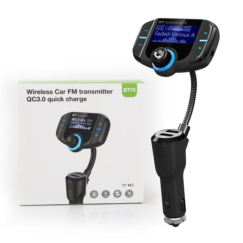 (Upgraded Version) Bluetooth FM Transmitter, GRDE Wireless Radio Adapter Hands-free Car Kit Receiver with QC 3.0 USB Car Charger, AUX Input/Output, TF Card Slot and LED Display by GRDE (Image #7)