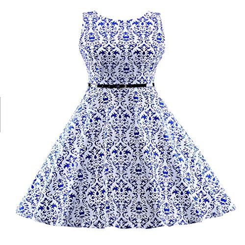 impresión vestimenta Azul vestido cinturón elegante Vintage mujer de Retro casual Sexy con de Vestido Oficina mujer Floral parte vestidos UqAPZ