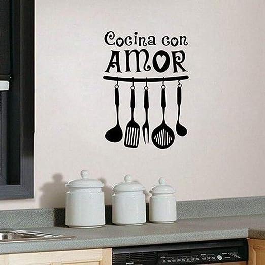 mmzki Vinilo Etiqueta de La Pared para la Cocina Cocina con Amor ...