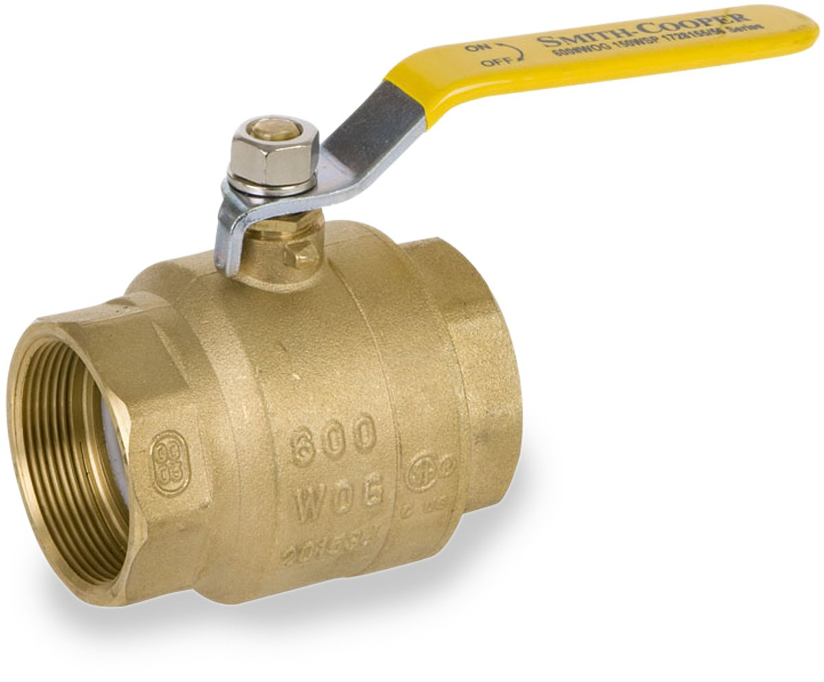 Smith-Cooper International 8155 Series Brass Ball Valve, Inline, Lever Handle, 4'' NPT Female, Non-Potable Water Use Only