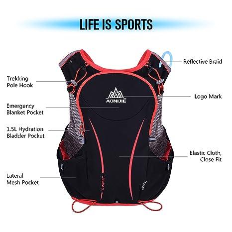 Amazon.com : Ezyoutdoor Professional 5L Red&Black Vest Backpack Lightweight Adjustable Hydration Pack Vest Mochilas for Race Running Climbing Ski Hiking ...