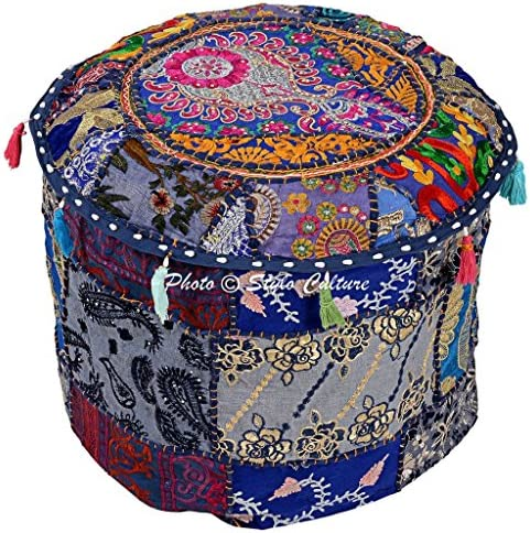 Stylo Culture Cotton Patchwork Embroidered Ottoman Stool Pouf Cover Blue Floral Hassock Pouffe Case 40 cm Footstool Floor Cushion Ethnic Decor Bean Bag Living Room