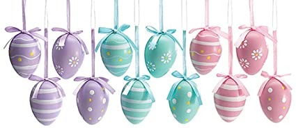 easter egg ornaments 3 assorted designs holiday gift home decor set of 12 - Easter Egg Images 3