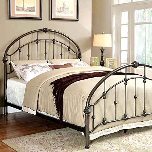 Carta Contemporary Vintage Style Brushed Bronze Finish King Size Bed Frame Set