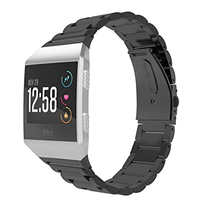 MoKo Fitbit Ionic Watch Band, MoKo Premium Solid Stainless Steel Metal Replacement Bracelet Strap Wristband with Connector for Fitbit Ionic Smart ...